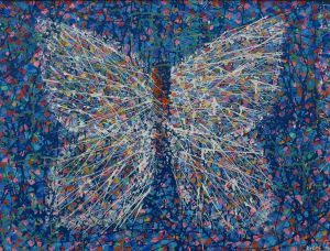 butterfly, 2019., mixed media on canvas, 60x80 cm